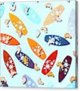 Blue Boarding Beach Canvas Print