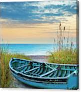 Blue Boat At Dawn Canvas Print