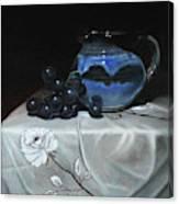 Blue Jar And Dark Purple Grapes Canvas Print
