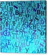 Blue Letters Over Blue Backlight Canvas Print