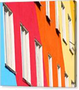 Blue, Red, Green, Orange Homes Canvas Print