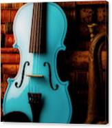 Blue Violin And Old Books Canvas Print