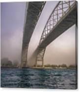 Blue Water Bridge Fog Canvas Print