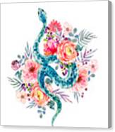 Blue Watercolor Snake In The Flower Garden Canvas Print