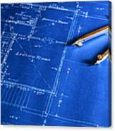 Blueprint With A Drafting Compass Canvas Print