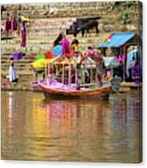 Boat And Bank Of The Narmada River, India Canvas Print