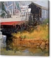 Boat In Drydock Canvas Print