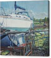Boat Out Of Water With Dumped Parts At Marina Canvas Print