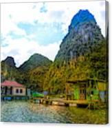 Boat People Homes On Gulf Of Tonkin Ha Long Bay Vietnam Canvas Print