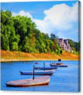 Boats At The Ferry Crossing Painting Canvas Print