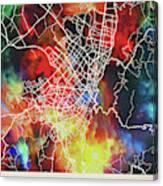 Bogota Colombia Watercolor City Street Map Canvas Print
