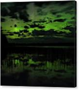 Boot Lake Green And Purple Northern Lights  Canvas Print