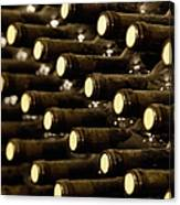 Bottled Red Wine Aging In Wine Cellar Canvas Print