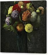 Bouquet Of Dahlias Canvas Print
