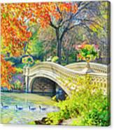 Bow Bridge, Central Park, In Autumn Canvas Print