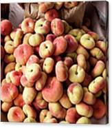 Box Of Donut Peaches At A Farmers Market Canvas Print