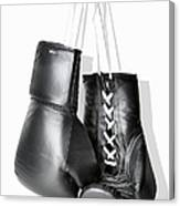 Boxing Gloves Hanging Against White Canvas Print