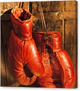 Boxing Gloves Hanging On Rustic Wooden Canvas Print