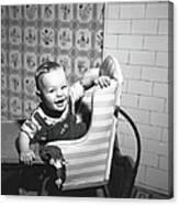 Boy 2-3 Sitting In High Chair,  B&w Canvas Print