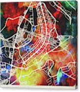 Brasilia Brazil Watercolor City Street Map Canvas Print