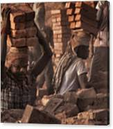 Brick Factory (2): Workers Stacking Bricks Canvas Print
