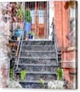 Brick Townhouse Walkup Watercolor Canvas Print