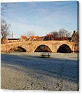bridge over river Tyne in Haddington in winter Canvas Print