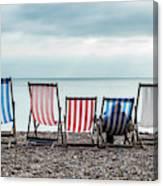 Brighton Beach Chairs Canvas Print