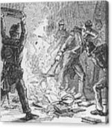 British Soldiers Burning Books In Canvas Print