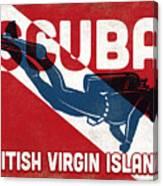 British Virgin Islands Scuba Diver - Blue Retro Canvas Print