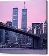 Brooklyn Bridge, Twin Towers, Nyc, Ny Canvas Print