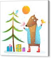 Brown Bear Wearing Warm Winter Coat Canvas Print