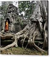 Buddhist Monk At Angkor Wat Temple Canvas Print