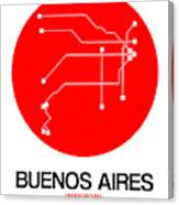 Buenos Aires Red Subway Map Canvas Print