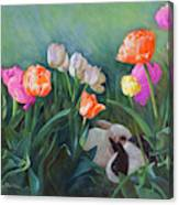 Bunnies In The Blooms Canvas Print