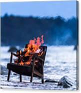 Burning Old Armchair On The Seashore Canvas Print
