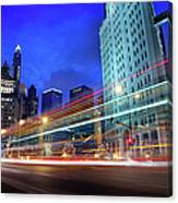 Bus Trails At Blue Hour Canvas Print