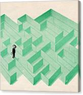 Businessman Trapped In Maze Canvas Print