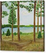 Camping At The Lake Canvas Print