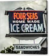 Cape Cod Four Seas Home Made Ice Cream Neon Sign Canvas Print