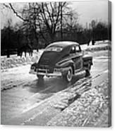 Car In The Snow Canvas Print