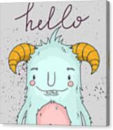 Card Template With Cartoon Monster Canvas Print