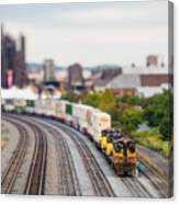 Cargo Train Photographed Using A Canvas Print