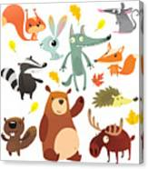 Cartoon Forest Animal Characters. Wild Canvas Print