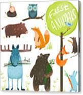 Cartoon Forest Animals Set. Brightly Canvas Print