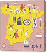 Cartoon Map Of Spain With Legend Icons Canvas Print