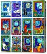 Cat Zodiac Paintings  Canvas Print
