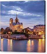 Cathedral Notre Dame And River Seine Canvas Print