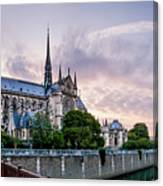 Cathedral Of Notre Dame From The Bridge - Paris France Canvas Print