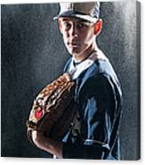 Caucasian Baseball Player Standing Canvas Print